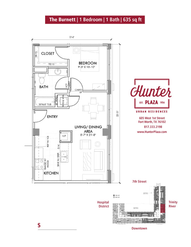 The Burnett | 1 Bedroom | 1 Bath | 635 sq ft*