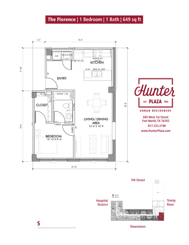 The Florence | 1 Bedroom | 1 Bath | 649 sq ft*