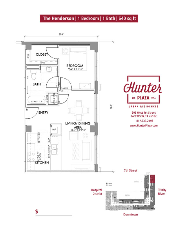 The Henderson | 1 Bedroom | 1 Bath | 640 sq ft*