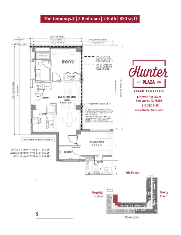 The Jennings.2 | 2 Bedroom | 2 Bath | 850 sq ft*