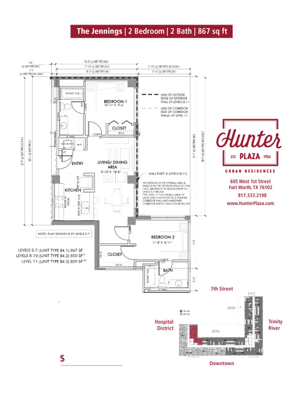 The Jennings | 2 Bedroom | 2 Bath | 867 sq ft*