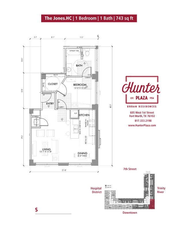 The Jones.HC | 1 Bedroom | 1 Bath | 743 sq ft*