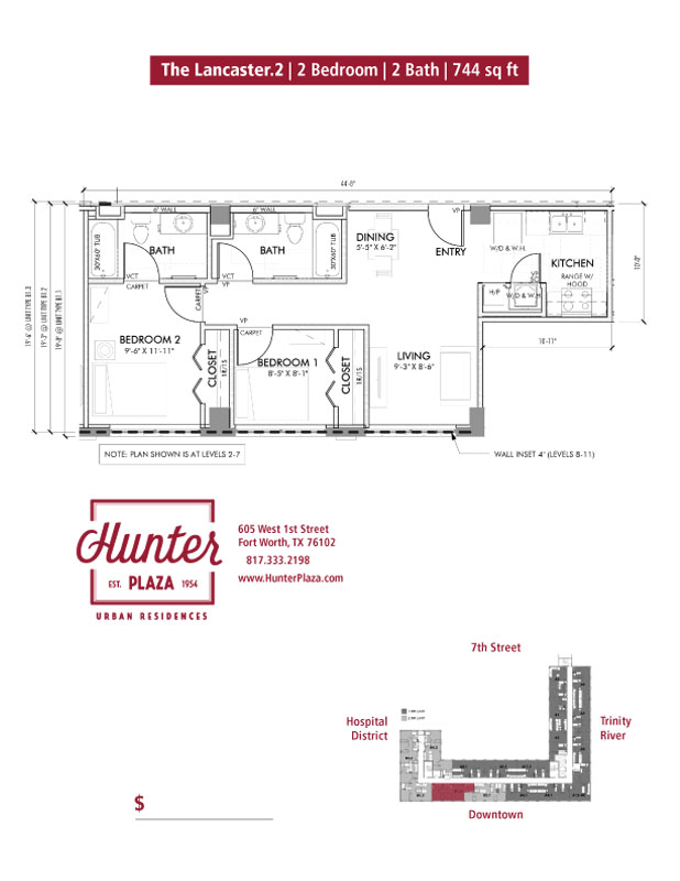 The Lancaster.2 | 2 Bedroom | 2 Bath | 744 sq ft*