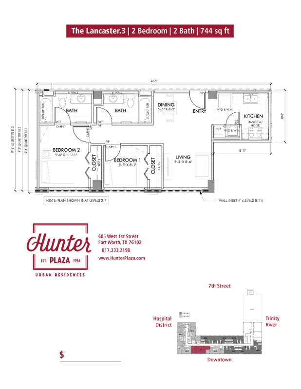 The Lancaster.3 | 2 Bedroom | 2 Bath | 744 Sq. Ft.*