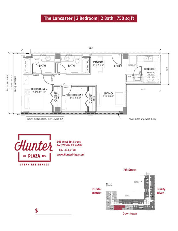 The Lancaster | 2 Bedroom | 2 Bath | 750 sq ft*