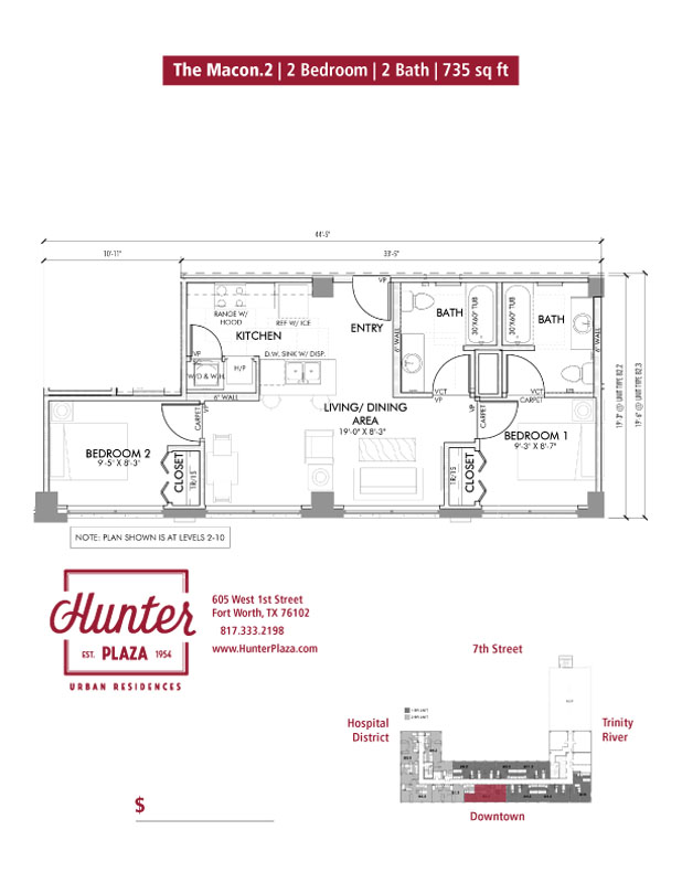 The Macon.2 | 2 Bedroom | 2 Bath | 726 sq ft*