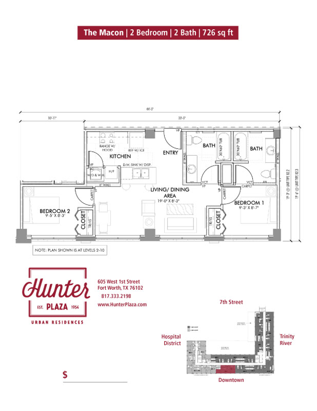 The Macon | 2 Bedroom | 2 Bath | 726 sq ft*