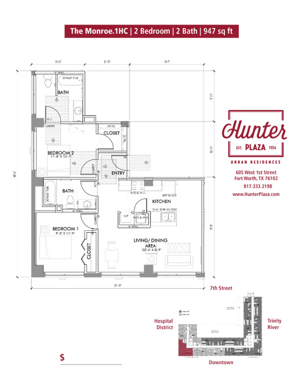 The Monroe.1HC | 2 Bedroom | 2 Bath | 947 sq ft*