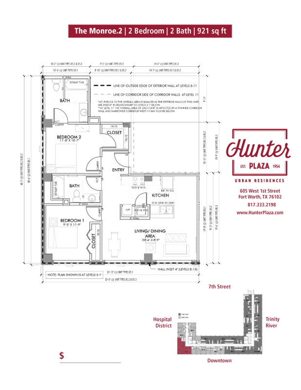 The Monroe.2 | 2 Bedroom | 2 Bath | 921 sq ft*
