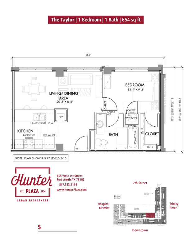 The Taylor | 1 Bedroom | 1 Bath | 654 sq ft*