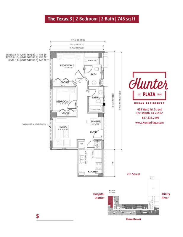 The Texas.3 | 2 Bedroom | 2 Bath | 746 sq ft*