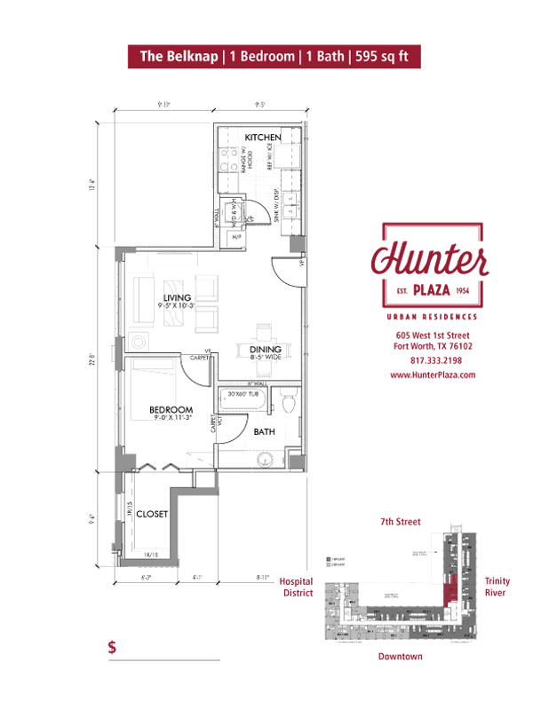 The Belknap  |  1 Bedroom | 1 Bath | 595 Sq. Ft.*