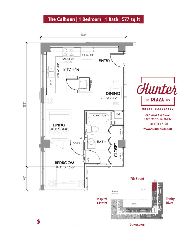 The Calhoun  |  1 Bedroom | 1 Bath | 577 Sq. Ft.*