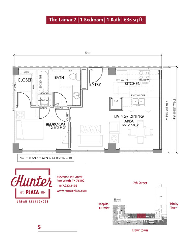 The Lamar.2 | 1 Bedroom | 1 Bath | 636 sq ft*