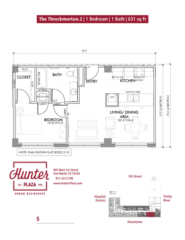 The Throckmorton.2 | 1 Bedroom | 1 Bath | 631 sq ft*