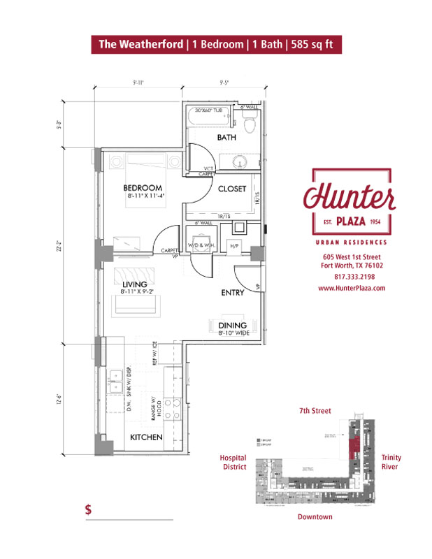 The Weatherford  | 1 Bedroom | 1 Bath | 585 Sq. Ft.*